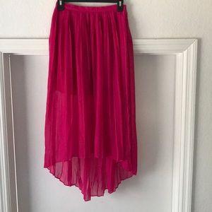 Hot Pink High Low Skirt